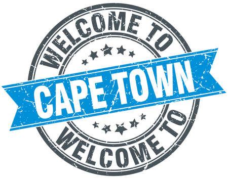 cape town: welcome to Cape Town blue round vintage stamp Illustration