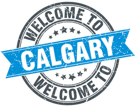 calgary: welcome to Calgary blue round vintage stamp
