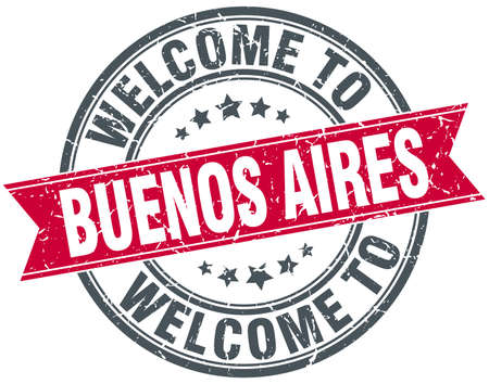 aires: welcome to Buenos Aires red round vintage stamp