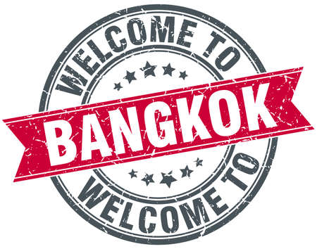 bangkok: welcome to Bangkok red round vintage stamp Illustration
