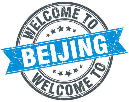 beijing: welcome to Beijing blue round vintage stamp