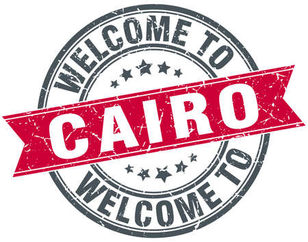 cairo: welcome to Cairo red round vintage stamp