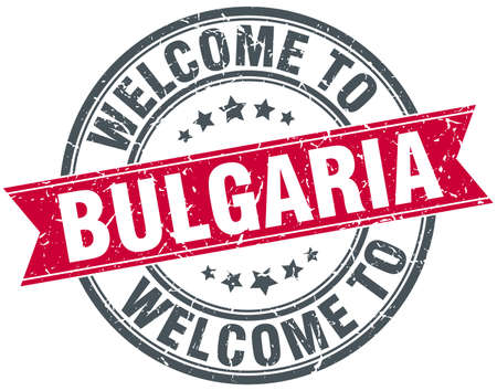 bulgaria: welcome to Bulgaria red round vintage stamp