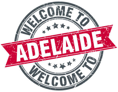 adelaide: welcome to Adelaide red round vintage stamp Illustration