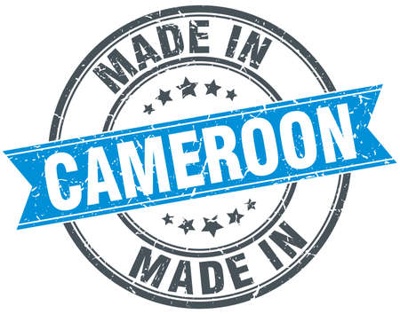 made in: made in Cameroon blue round vintage stamp