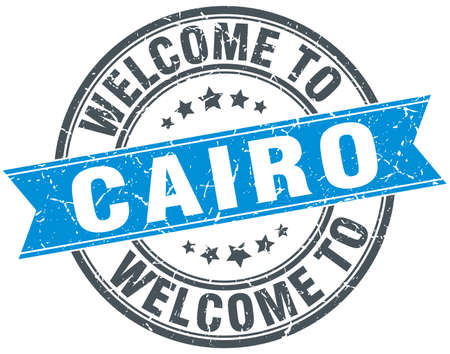 cairo: welcome to Cairo blue round vintage stamp