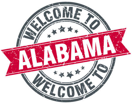 greet: welcome to Alabama red round vintage stamp