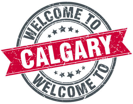 calgary: welcome to Calgary red round vintage stamp Illustration