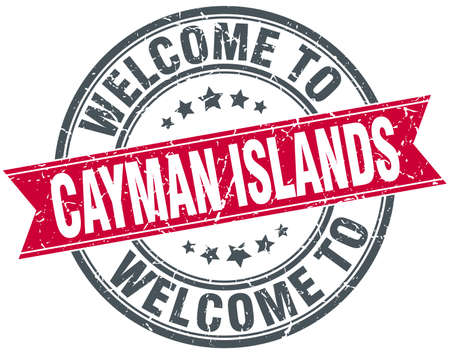 cayman islands: welcome to Cayman Islands red round vintage stamp Illustration