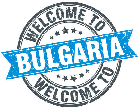 bulgaria: welcome to Bulgaria blue round vintage stamp