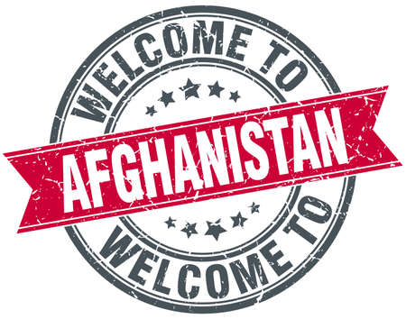 afghanistan: welcome to Afghanistan red round vintage stamp