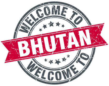rubber band: welcome to Bhutan red round vintage stamp