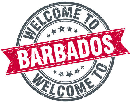 barbados: welcome to Barbados red round vintage stamp