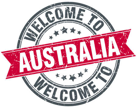 australia stamp: welcome to Australia red round vintage stamp