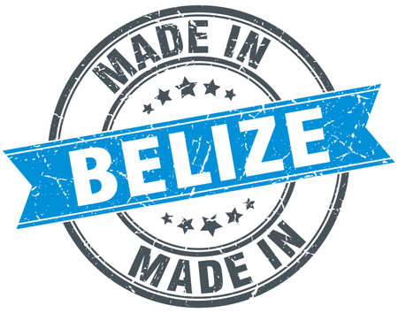 rubber band: made in Belize blue round vintage stamp Illustration