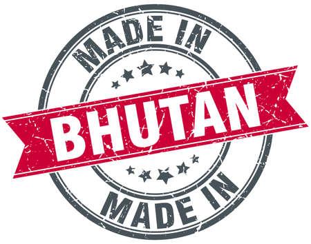 bhutan: made in Bhutan red round vintage stamp