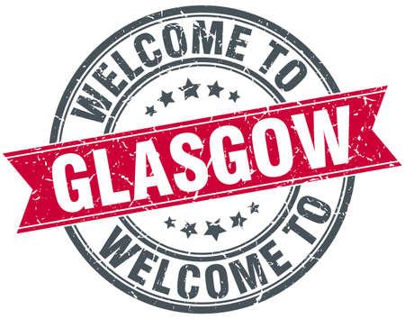 glasgow: welcome to Glasgow red round vintage stamp Illustration