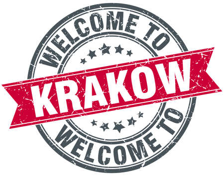 krakow: welcome to Krakow red round vintage stamp