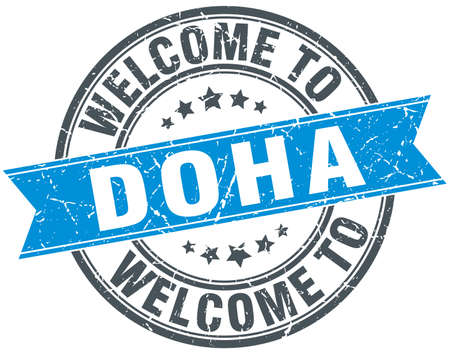 doha: welcome to Doha blue round vintage stamp