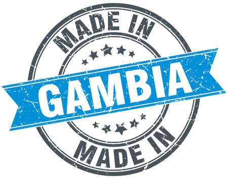 gambia: made in Gambia blue round vintage stamp