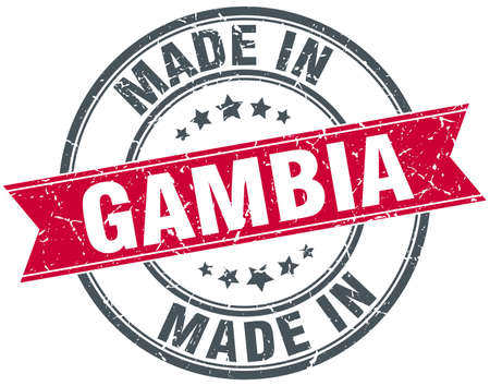 gambia: made in Gambia red round vintage stamp Illustration