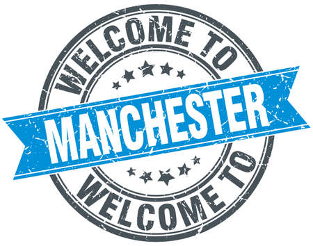 manchester: welcome to Manchester blue round vintage stamp