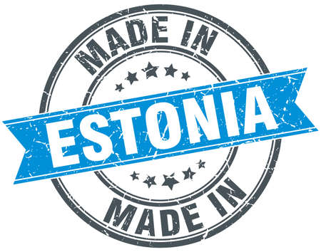 made in: made in Estonia blue round vintage stamp