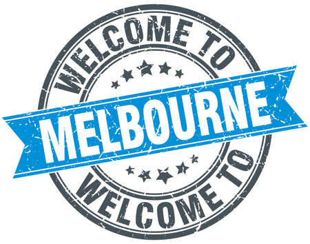melbourne: welcome to Melbourne blue round vintage stamp