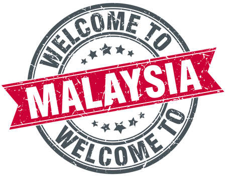 greet: welcome to Malaysia red round vintage stamp Illustration
