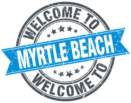 myrtle: welcome to Myrtle Beach blue round vintage stamp