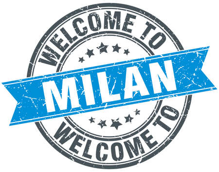 milan: welcome to Milan blue round vintage stamp