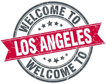 ビンテージ スタンプ ラウンド ロサンゼルス赤へようこそ  イラスト・ベクター素材