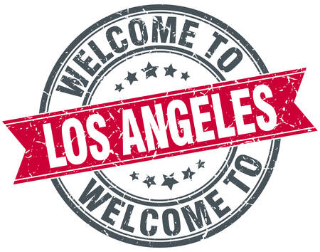 welcome to Los Angeles red round vintage stamp Illustration