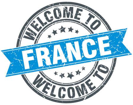 france stamp: welcome to France blue round vintage stamp Illustration