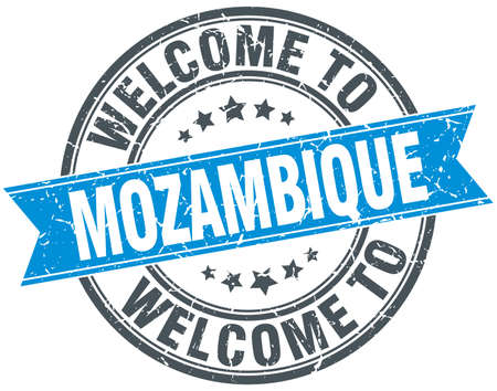 mozambique: welcome to Mozambique blue round vintage stamp
