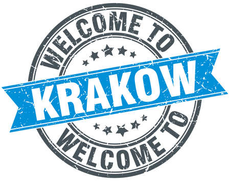 greet: welcome to Krakow blue round vintage stamp Illustration