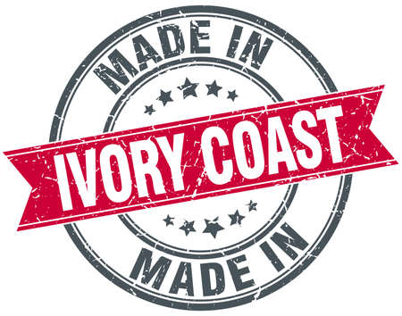 coast: made in Ivory Coast red round vintage stamp