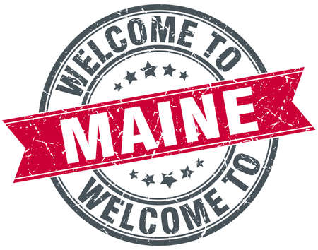 maine: welcome to Maine red round vintage stamp