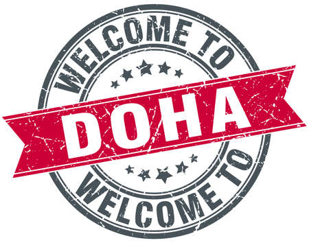 doha: welcome to Doha red round vintage stamp Illustration