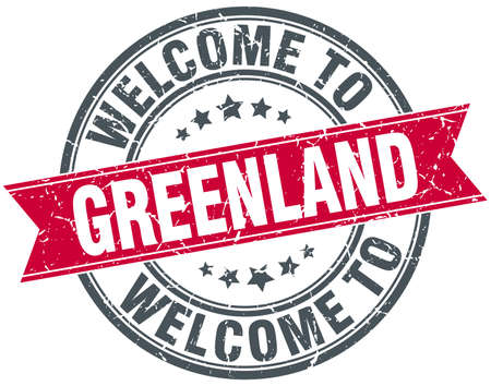 greenland: welcome to Greenland red round vintage stamp