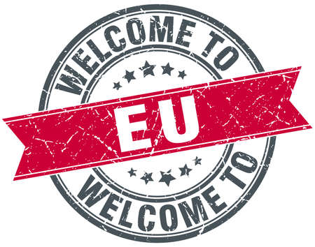eu: welcome to eu red round vintage stamp
