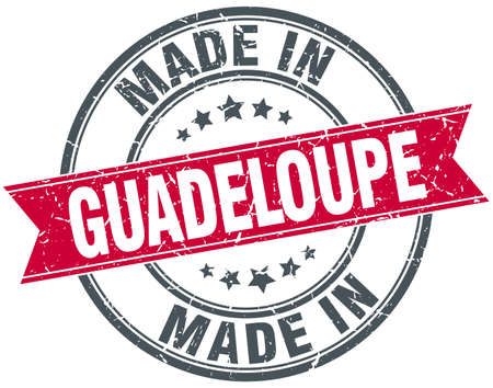guadeloupe: made in Guadeloupe red round vintage stamp
