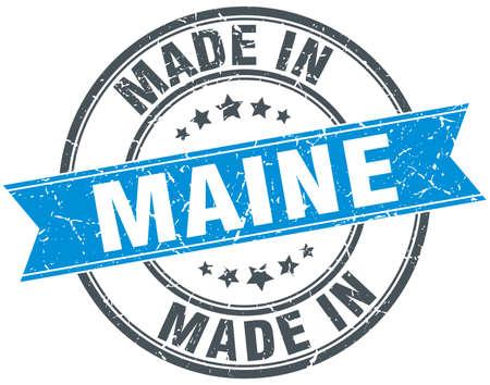 maine: made in Maine blue round vintage stamp