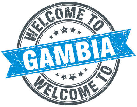 welcome to Gambia blue round vintage stamp Illustration