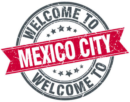 mexico city: welcome to Mexico City red round vintage stamp Illustration