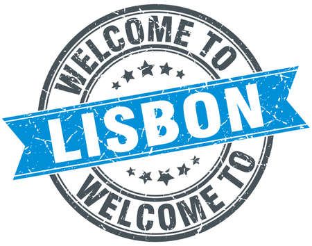 greet: welcome to Lisbon blue round vintage stamp Illustration