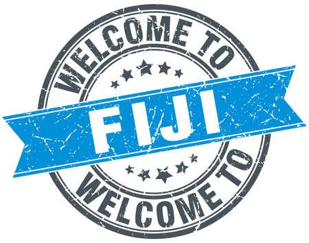 fiji: welcome to Fiji blue round vintage stamp