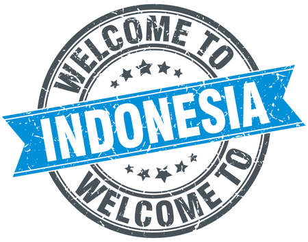greet: welcome to Indonesia blue round vintage stamp Illustration
