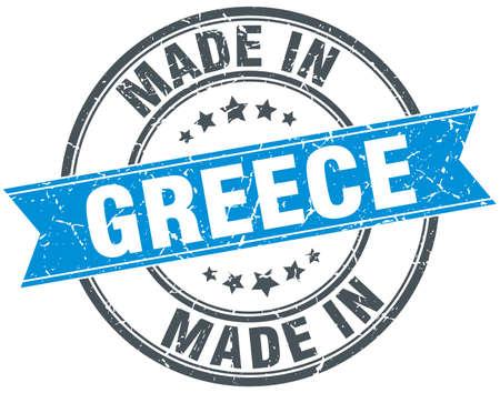 made in Greece blue round vintage stamp Illustration