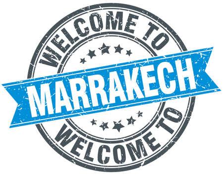 marrakech: welcome to Marrakech blue round vintage stamp Illustration